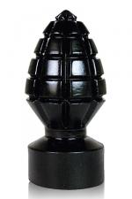 Plug grenade All Black : Plug anal géant en forme de grenade crantée pour des sensations explosives!
