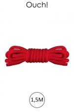 Mini corde de bondage 1,5m rouge - Ouch : Corde douce spécial bondage, longueur 1,5m en nylon rouge, par la marque spécialiste du bondage Ouch!