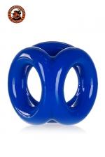 Oxballs Tri-Sport Cocksling - bleu : Cockring bleu police en Flex TPR hyper extensible, avec 3 anneaux pour serrer les bourses, la verge et la base de celle-ci, par Oxballs.
