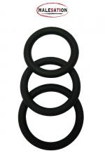 Set 3 CockRings silicone - Malesation : Lot de 3 cockrings classiques en silicone diamètre 4 / 4,5 / 5 cm, par Malesation, le spécialiste du plaisir masculin.