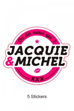 Pack 5 stickers J&M n°1 : Pack de 5 Stickers blancs Jacquie & Michel  (dimensions 8.1 x 7 cm) à coller où vous voulez.