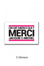 Pack 5 stickers J&M n°3 : Pack de 5 Stickers blancs Jacquie & Michel  (dimensions 5 x 3.3 cm) à coller où vous voulez.