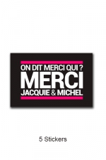 Pack 5 stickers J&M n°4 : Pack de 5 Stickers noirs Jacquie & Michel  (dimensions 5 x 3.3 cm) à coller où vous voulez.