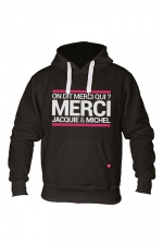 Sweat à capuche J&M Classique : Sweat-shirt à capuche noir avec logo rectangle on dit merci qui de Jacquie et Michel sur le devant.