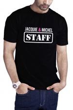 T-shirt Jacquie et Michel Staff - noir : T-shirt humoristique Jacquie et Michel STAFF, en noir, pour impressionner votre entourage !