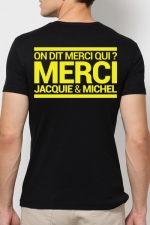 T-shirt Jacquie & Michel Jaune fluo : A la demande générale, le t-shirt J&M jaune Fluo pour faire la fête et briller jusqu'au bout de la nuit.