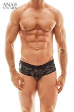 Jock Bikini Elektro - Anaïs for Men : Superbe lingerie pour homme façon shorty à l'avant et jockstrap à l'arrière, fabriqué en Europe.