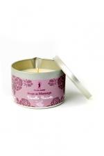 Bougie de massage Vanille-Noisette : Bougie de massage parfum Vanille-Noisette fabriquée en France pour des moments sensuels.