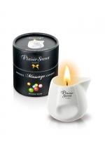 Bougie de massage - Buble gum : Bougie érotique se transformant en huile de massage sensuelle au goût gourmand de buble gum.