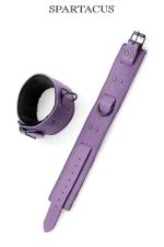 Bracelets chevilles cuir violet : Paire de menottes de chevilles en cuir violet de la gamme Crave Line - by Spartacus.