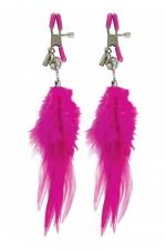Pinces mamelons à plume : Paire de pinces à seins Fetish Fantasy Series, ornées de plumes à leur extrémité,