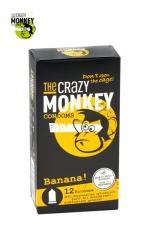 12 Préservatifs Crazy Monkey Banane : 12 préservatifs jaunes, arôme banane, cylindriques, lisses et lubrifiés, par Crazy Monkey.