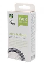 10 préservatifs Fair Squared Max Perform : 10 préservatifs Vegan avec cockring intégré pour des performances maximales.