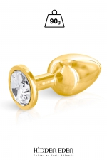 Plug bijou aluminium gold M - Hidden Eden : Plug anal en aluminium doré d'une longueur de 8,3 cm et d'un diamètre moyen de 3,4 cm. Décoré d'un strass rond transparent.