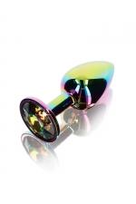 Plug anal Twilight Booty Jewel - Small : Petit plug anal en aluminium et verre acrylique, dimensions 7,2 x 2,7 cm, corps et bijou arc en ciel, by ToyJoy.
